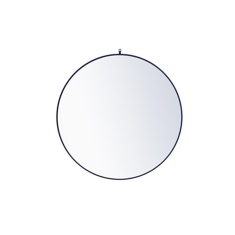 Elegant Lighting Metal frame round mirror with decorative hook 48 inch Blue