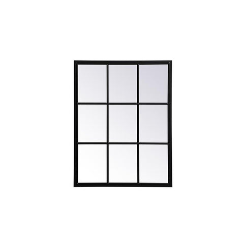 Elegant Lighting Metal windowpane mirror 28 inch in in x 36 inch in in Black
