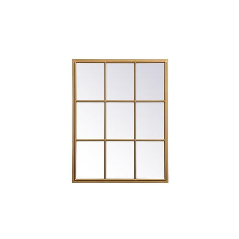 Elegant Lighting Metal windowpane mirror 28 inch in in x 36 inch in in Brass