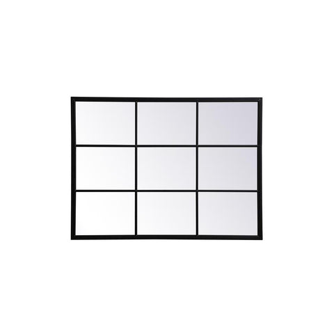 Elegant Lighting Metal windowpane mirror 36 inch in in x 48 inch in in Black