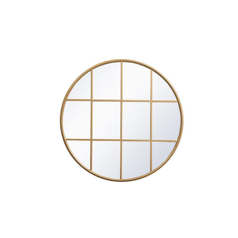 Elegant Lighting Metal windowpane mirror 36 inch in x 36 inch in Brass