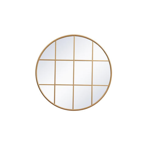 Elegant Lighting Metal windowpane mirror 42 inch in x 42 inch in Brass