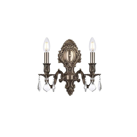 Elegant Lighting Monarch 2 light Pewter Wall Sconce Clear Swarovski Elements Crystal
