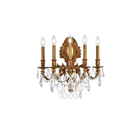 Elegant Lighting Monarch 5 light French Gold Wall Sconce Clear Swarovski Elements Crystal
