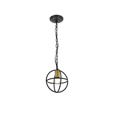 Elegant Lighting Octavia 1 light Brass and Dark Brown Pendant