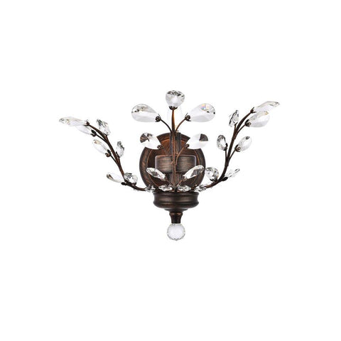 Elegant Lighting Orchid 1 light Dark Bronze Wall Sconce Clear Swarovski Elements Crystal