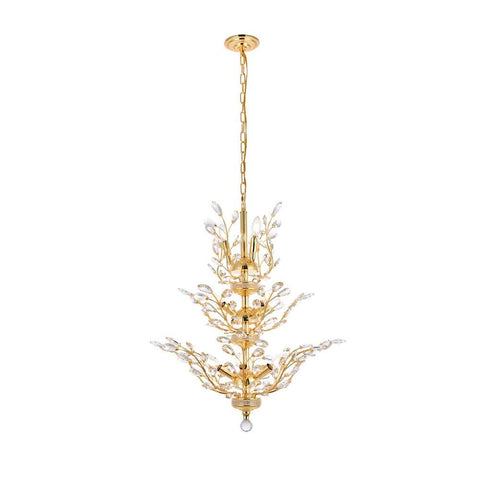 Elegant Lighting Orchid 13 light Gold Chandelier Clear Swarovski Elements Crystal