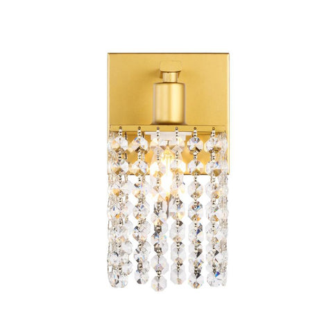 Elegant Lighting Phineas 1 light Brass and Clear Crystals wall sconce