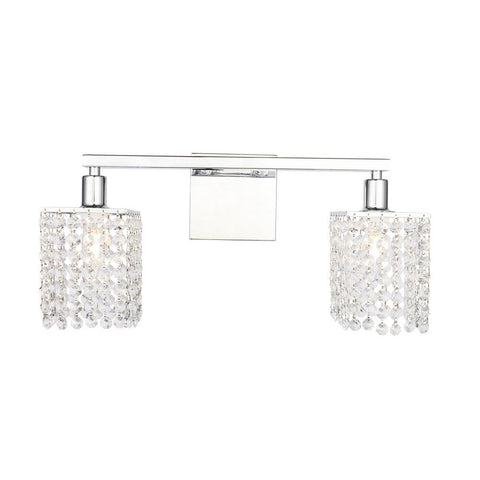 Elegant Lighting Phineas 2 light Chrome and Clear Crystals wall sconce