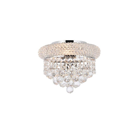 Elegant Lighting Primo 3 light Chrome Flush Mount Clear Elegant Cut Crystal