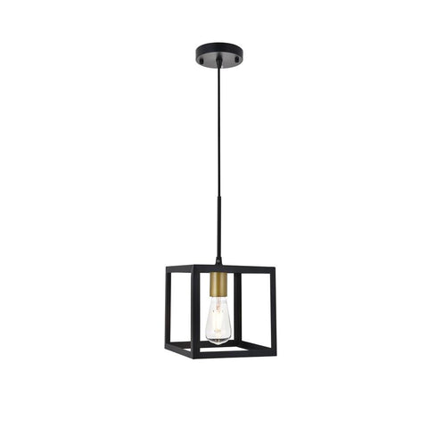 Elegant Lighting Resolute 1 light brass and black Pendant