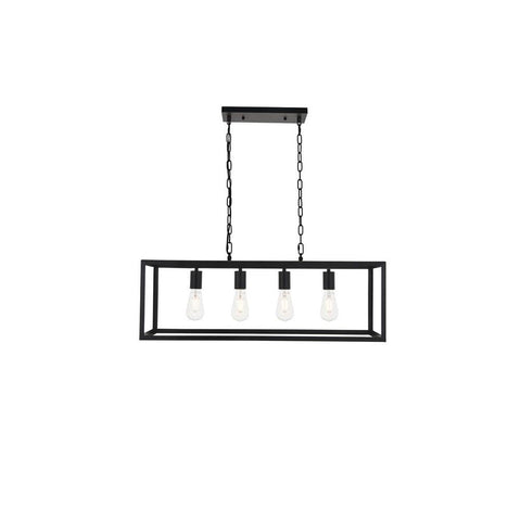 Elegant Lighting Resolute 4 light black Pendant