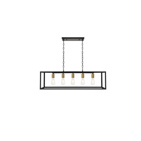Elegant Lighting Resolute 5 light brass and black Pendant