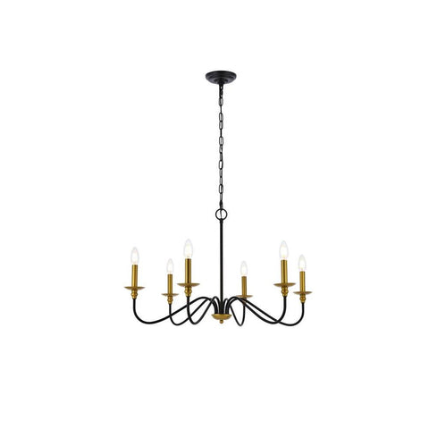 Elegant Lighting Rohan 30 inch chandelier in matte black and brass