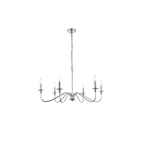 Elegant Lighting Rohan 6 lights polished nickel chandelier