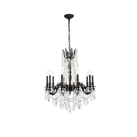 Elegant Lighting Rosalia 10 light Dark Bronze Chandelier Clear Elegant Cut Crystal