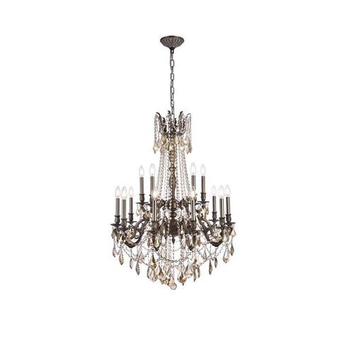 Elegant Lighting Rosalia 15 light Pewter Chandelier Golden Teak (Smoky) Swarovski Elements Crystal