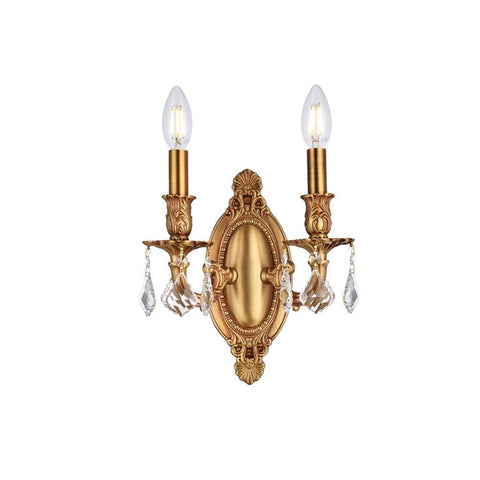Elegant Lighting Rosalia 2 light French Gold Wall Sconce Clear Royal Cut Crystal