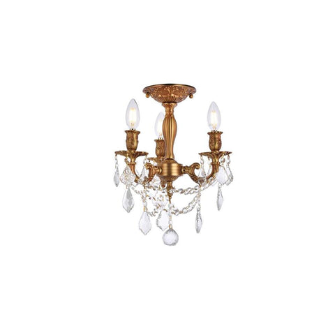 Elegant Lighting Rosalia 3 light French Gold Flush Mount Clear Elegant Cut Crystal