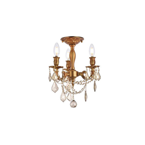 Elegant Lighting Rosalia 3 light French Gold Flush Mount Golden Teak (Smoky) Royal Cut Crystal