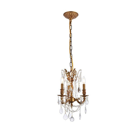 Elegant Lighting Rosalia 3 light French Gold Pendant Clear Royal Cut Crystal