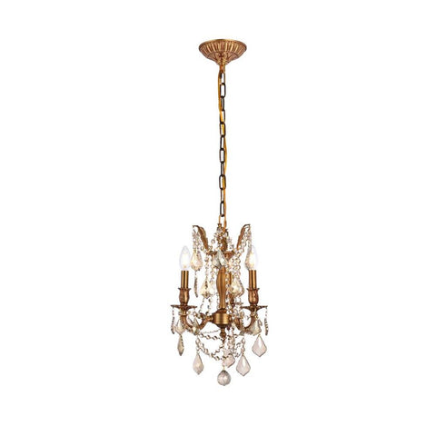 Elegant Lighting Rosalia 3 light French Gold Pendant Golden Teak (Smoky) Royal Cut Crystal