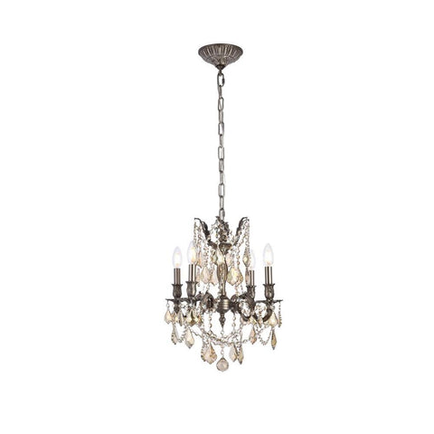 Elegant Lighting Rosalia 4 light Pewter Pendant Golden Teak (Smoky) Royal Cut Crystal