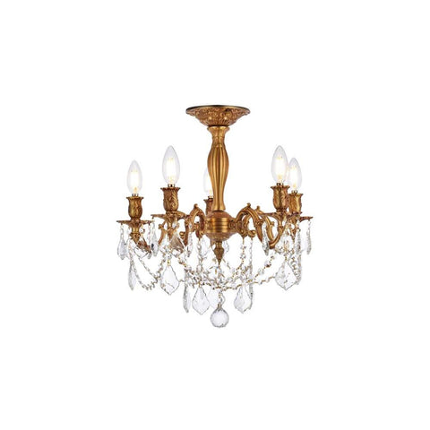 Elegant Lighting Rosalia 5 light French Gold Flush Mount Clear Royal Cut Crystal