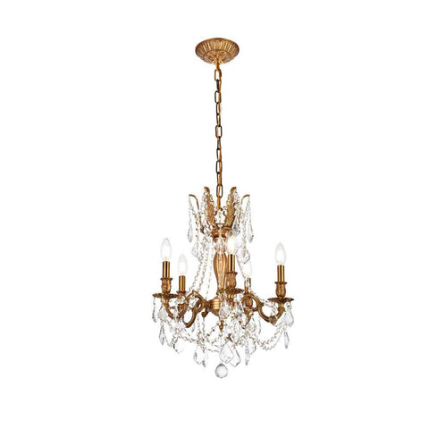 Elegant Lighting Rosalia 5 light French Gold Pendant Clear Elegant Cut Crystal