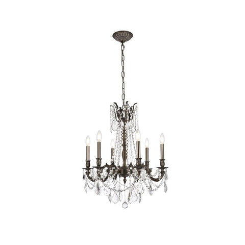 Elegant Lighting Rosalia 6 light Pewter Chandelier Clear Elegant Cut Crystal