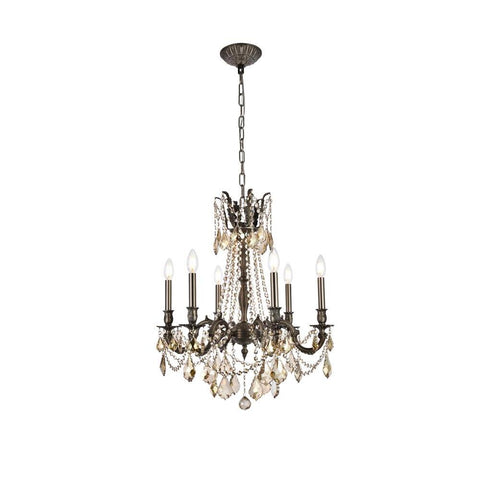 Elegant Lighting Rosalia 6 light Pewter Chandelier Golden Teak (Smoky) Royal Cut Crystal