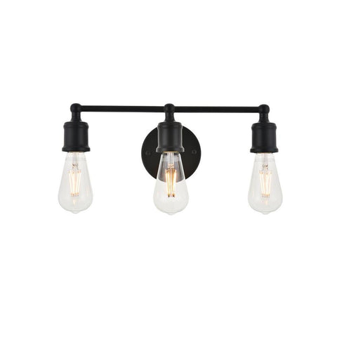 Elegant Lighting Serif 3 light black Wall Sconce