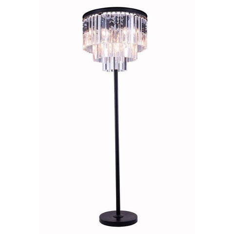 Elegant Lighting Sydney 8 light Matte Black Floor Lamp Clear Royal Cut Crystal