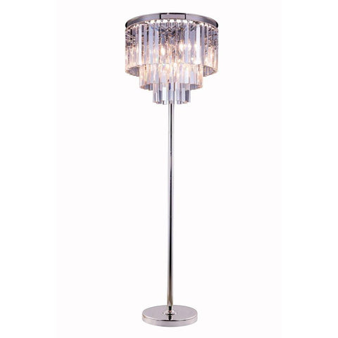 Elegant Lighting Sydney 8 light Polished nickel Floor Lamp Clear Royal Cut Crystal