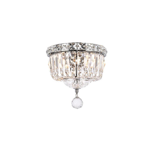 Elegant Lighting Tranquil 2 light Chrome Flush Mount Clear Spectra Swarovski Crystal