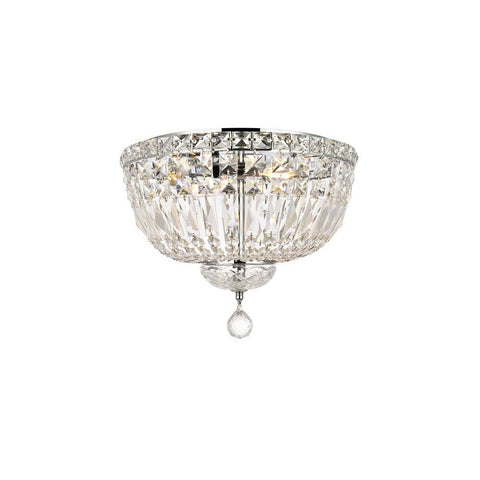 Elegant Lighting Tranquil 4 light Chrome Flush Mount Clear Royal Cut Crystal