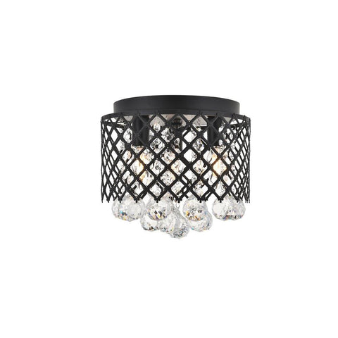 Elegant Lighting Tully 3 light Matte Black Flush Mount