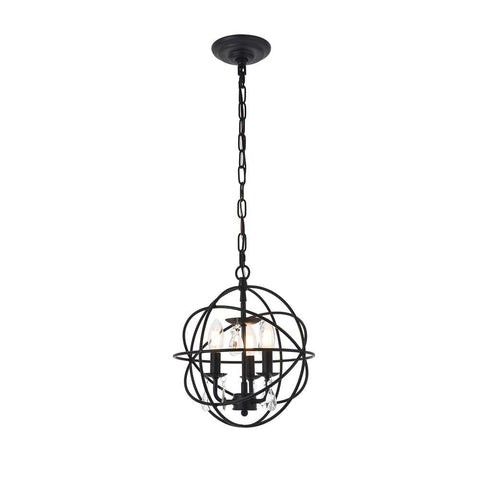 Elegant Lighting Wallace 3 light Matte Black Pendant