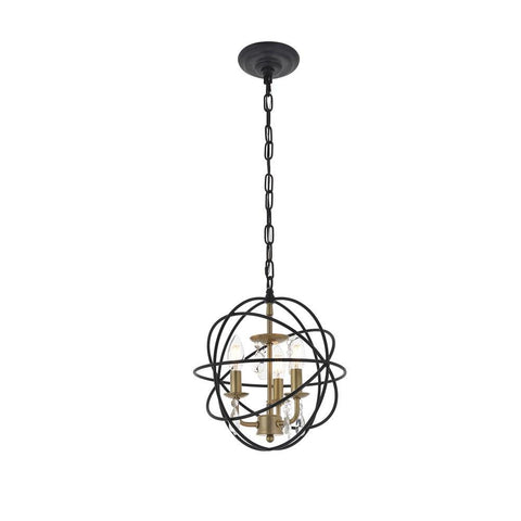 Elegant Lighting Wallace 3 light Matte Black and Brass Pendant