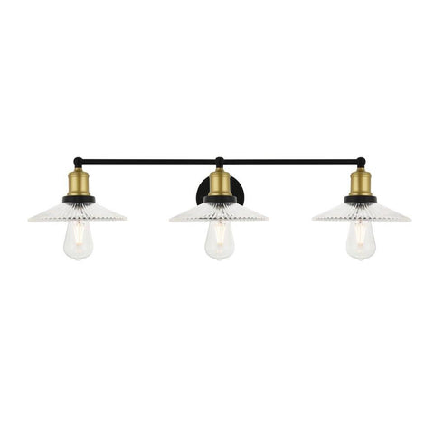Elegant Lighting Waltz 3 light brass and black Wall Sconce