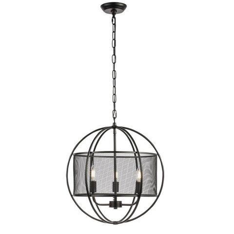 Elegant Lighting Zeke 3 light Black pendant