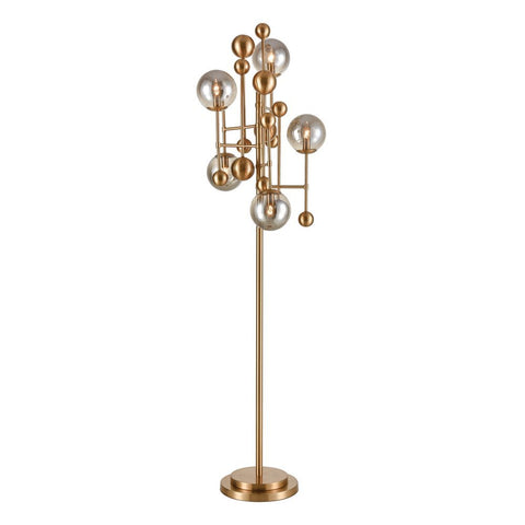 Elk Ballantine Floor Lamp in Aged Brass