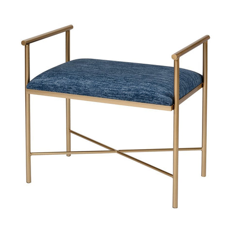 Elk Blue Grand Bench in Navy Blue Chenille and Gold