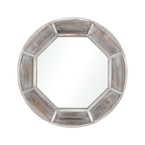 Elk By Sea Mirror in White Washed Wood and German Silver
