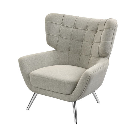 Elk Determinative Chair in Grey Linen and Silver