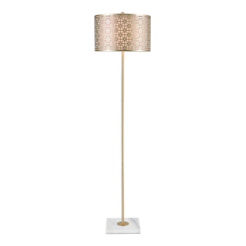 Elk Farthing Floor Lamp in Gold and White