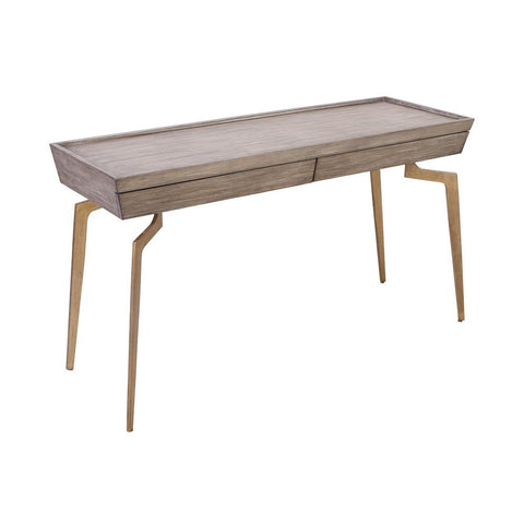Elk Larocca Console Table in Soft Gold and Grey Birch Veneer