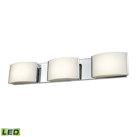 Elk Lighting 3 Light LED Vanity in Chrome and Opal Glass