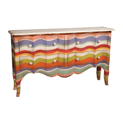 Elk Lighting 4-Drawer Sideboard in Multi-color Stripes with Signature Antique White Top