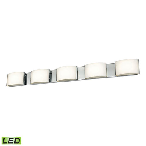 Elk Lighting 5 Light LED Vanity in Chrome and Opal Glass